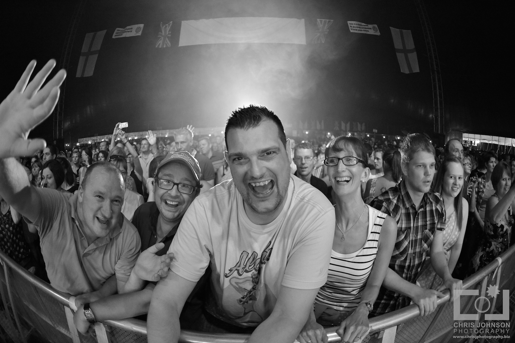 Black and white shot of the HBMF crowd from the stage perspective